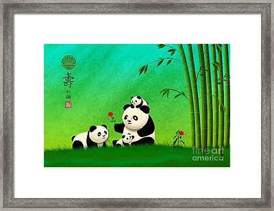 Longevity Panda Family Asian Art Framed Print by John Wills