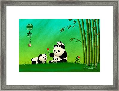 Longevity Panda Family Asian Art Framed Print by John Wills