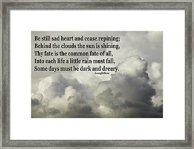 Longfellow Quote Clouds Building Before Storm Framed Print by Keith Webber Jr