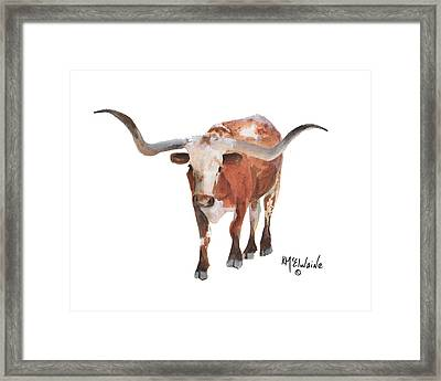 Longhorn 17 Big Daddy Watercolor Painting By Kmcelwaine Framed Print