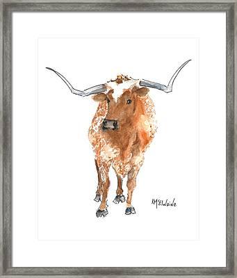Longhorn 2 Runnin Wild Watercolor Painting By Kmcelwaine Framed Print
