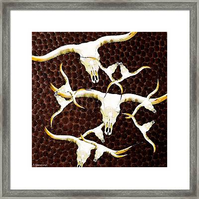 Longhorn Art - Cattle Call - Bull Cow Framed Print by Sharon Cummings