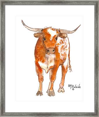 Texas Red Longhorn Watercolor Painting By Kmcelwaine Framed Print