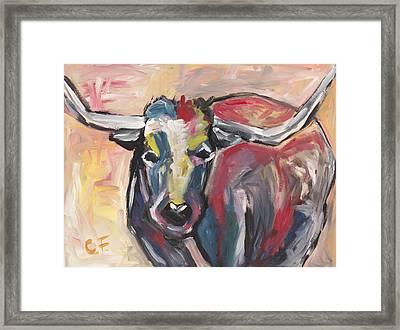 Longhorn Framed Print by Chelle Fazal