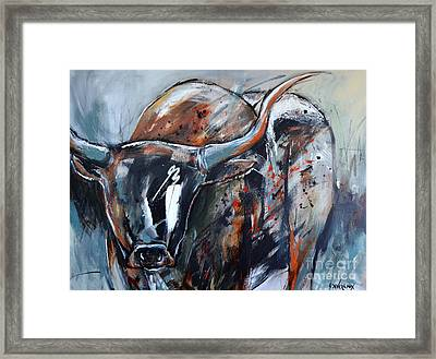 Framed Print featuring the painting Longhorn by Cher Devereaux