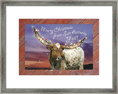 Longhorn Christmas Card From San Antonio Framed Print by Robert Anschutz