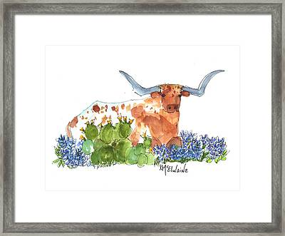 Longhorn In The Cactus And Bluebonnets Lh014 Kathleen Mcelwaine Framed Print