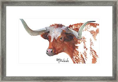 Longhorn Portrait Lh006 Watercolor Painting By Kmcelwaine Framed Print