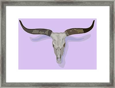 Longhorn Skull Framed Print by Robert Bissett