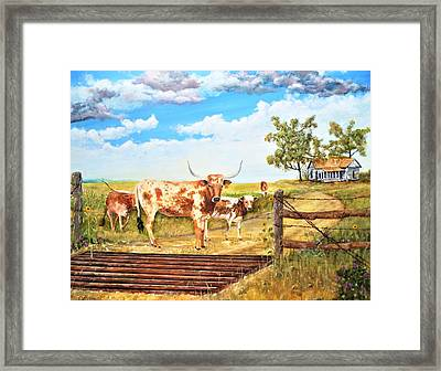 Longhorn Stand Off Your Place Or Mine Framed Print