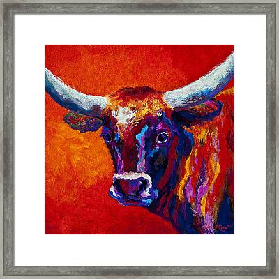 Longhorn Steer Framed Print by Marion Rose