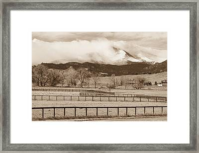 Longs Peak - Storm And Fences - Sepia Image Framed Print