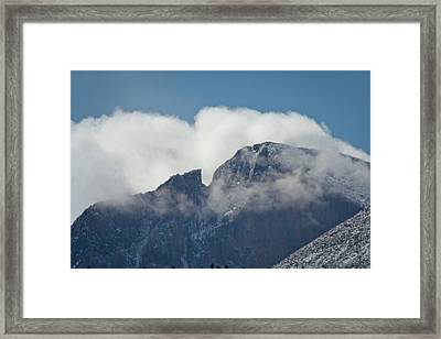 Longs Peak And Notch Framed Print by Brent Parks