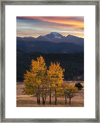 Longs Peak From Moraine Park - Fall Framed Print by Aaron Spong