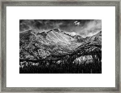 Longs Peak Rocky Mountain National Park Black And White Framed Print