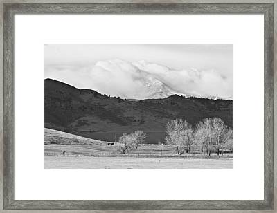 Longs Peak Snow Storm Bw Framed Print by James BO  Insogna