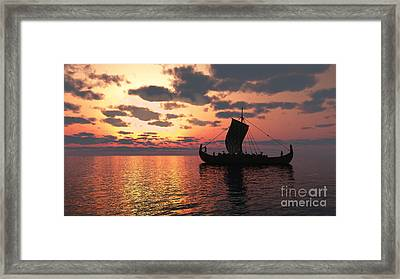 Longship At Sunset Framed Print by Fairy Fantasies