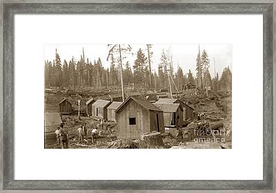 Logging Camp Cabins On A Train Circa 1900 Framed Print by California Views Mr Pat Hathaway Archives