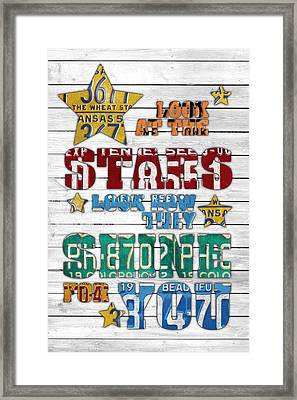 Look At The Stars Coldplay Yellow Inspired Typography Made Using Vintage Recycled License Plates V2 Framed Print by Design Turnpike