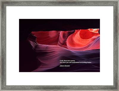 Look Deep Into Nature Framed Print by Jeff Swan