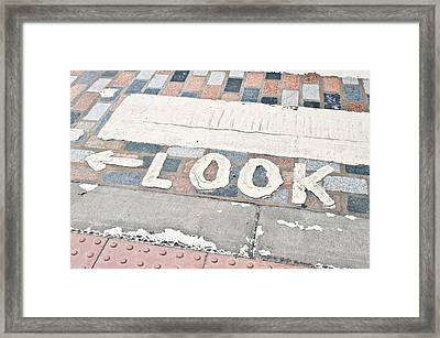 Look Sign Framed Print by Tom Gowanlock