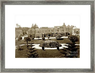 Looking Across Garden Of El Carmelo Hotel Towards Shops Between  Framed Print
