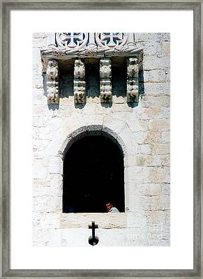 Looking At The Cross Framed Print by Andrea Simon