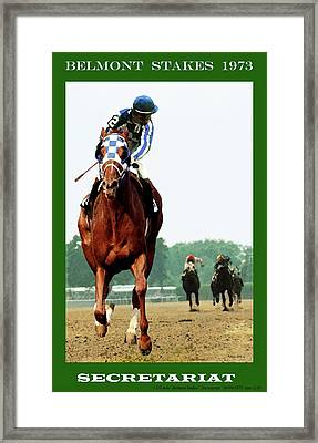 Looking Back 1 1/2 Mile Belmont Stakes Secretariat 06/09/73 Time 2 24 - Painting Framed Print by Thomas Pollart