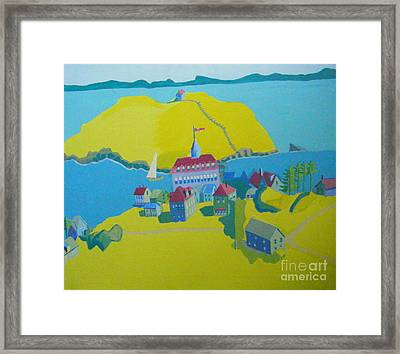 Looking Down On Monhegan And Manana Islands Framed Print by Debra Bretton Robinson