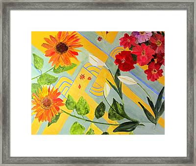 Framed Print featuring the painting Looking Down On The Flowers On The Tile Floor by Sandy McIntire