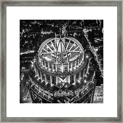 Looking Down On The Huntington Street Building Boston Ma Black And White Framed Print