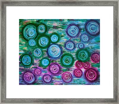 Looking Down On Umbrellas-bleu Framed Print by Brenda Higginson