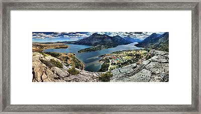 Looking Down On Waterton Lakes Framed Print