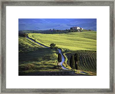 Looking Down Road At Dusk To Old Framed Print