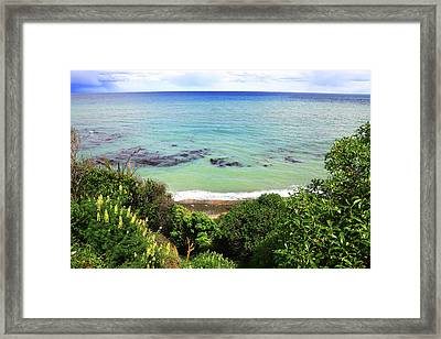 Framed Print featuring the photograph Looking Down To The Beach by Nareeta Martin