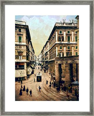 Looking Down Via Roma Framed Print by John K Woodruff