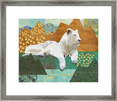 Looking Forward - Snow Lion Framed Print