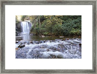 Looking Glass Falls Downstream Framed Print