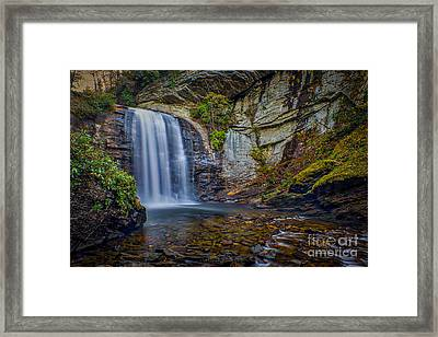 Framed Print featuring the photograph Looking Glass Falls In The Blue Ridge Mountains Brevard North Carolina by T Lowry Wilson