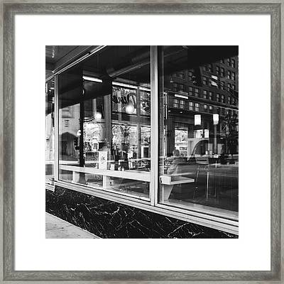 Looking Into A Diner. Black And White Street Photography. Framed Print by Dylan Murphy