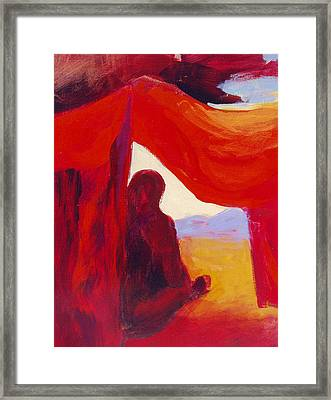 Looking Out Of The Red Tent Framed Print by Renee Kahn