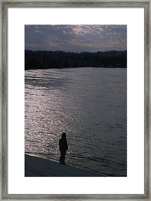 Looking Out Over A Flooded Potomac Framed Print by Stacy Gold