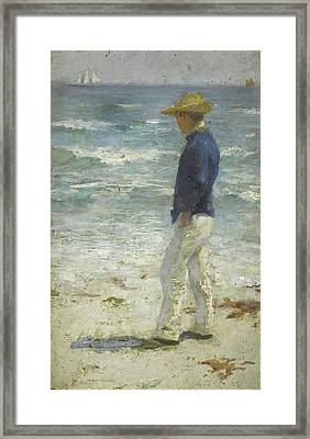 Framed Print featuring the painting Looking Out To Sea by Henry Scott Tuke