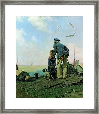 Looking Out To Sea Framed Print by Norman Rockwell