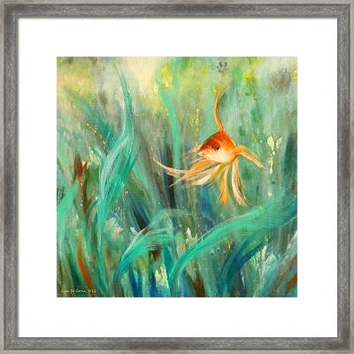 Looking - Square Painting Framed Print by Gina De Gorna