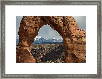 Looking Through Delicate Arch Framed Print