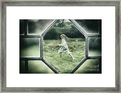 Looking Through Leaded Glass Window Framed Print