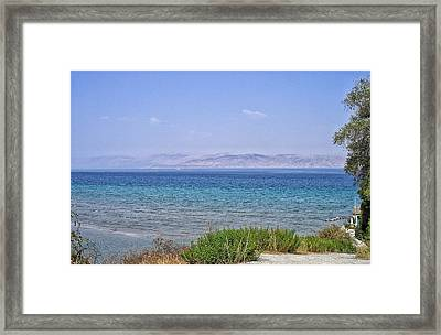 Greek Island Blues  Framed Print by Connie Handscomb