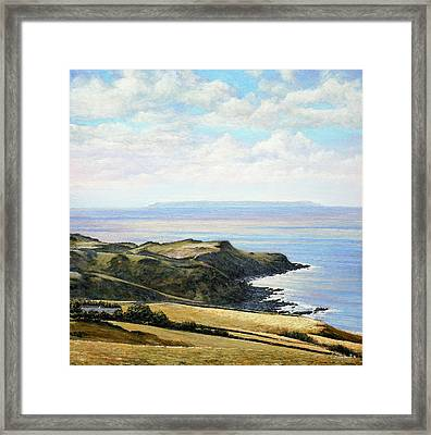 Looking Toward Lundy Island And Lee Bay From Ilfracombe Coast Path Framed Print by Mark Woollacott