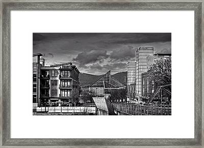 Looking Toward The Tennessee Aquarium In Black And White Framed Print by Greg Mimbs